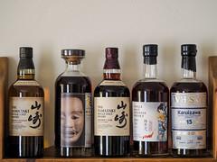 Japanese Malt Selection (bredmañ) Tags: whisky singlemalt japan japanese karuizawa yamazaki heavilypeated sherrycask2013 noh handheld olympus em1mkii 75mm18 alcohol booze drink