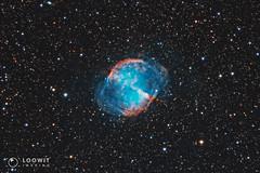 Messier 27 - The Dumbbell Nebula (Loowit Imaging - Steve Rosenow, Photographer) Tags: space science astronomy astrophotography meade meadelx200 meadeapo meadeseries5000apo nikon nikond5500 m57 messier57 messierobject charlesmessier messiercatalog astrometrydotnet:id=nova3384038 astrometrydotnet:status=solved