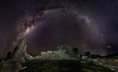 Milky Way || Bombo (David Marriott - Sydney) Tags: kiama newsouthwales australia bombo milky way bow large magellanic cloud lmc juniper galactic night long exposure fisheye rocks water pool nsw