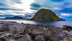 near Haukland (Nosetan) Tags: blue beach black big natur nature norway end landscape wind sun cloudy colur cold stone sea sky wild life live water old alone away