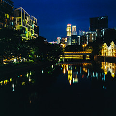 From Robertson Quay Bridge (Thanathip Moolvong) Tags: bronica s2 75mm f28 6x6 lomography 400 film bluehour water reflection
