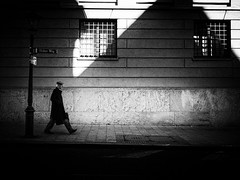 way home (Sandy...J) Tags: atmosphere alone light shadow street streetphotography sw schwarzweis strasenfotografie stadt city contrast monochrom man blackwhite bw germany urban noir olympus fotografie photography mood stimmung deutschland walking absoluteblackandwhite