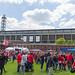 Public Viewing des Fußballspiels zum Meister-Finale, vor der Aufstiegsfeier des 1. FC Köln, mit Besuchern im Fan-Trikot  am RheinEnergie Stadion