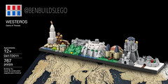 Lego Game of Thrones - Westeros Skyline MOC (Box) (BenBuildsLego) Tags: game thrones westeros skyline lego legos architecture kings landing oldtown old town tower sept baelor bricks brick bricklink render 3d casterly rock tyrion lannister eyrie winterfell jon snow stark hbo cool creative
