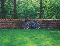 Lonely blue bike (erlingraahede) Tags: denmark holstebro canon vsco wall lonely bike green kodakektar100 blue