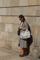 Woman with a rose     ........ on her left leg (M. Word) Tags: elegant city coat waiting sunglasses rose tatoo woman barcelona