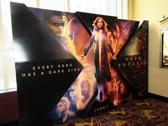 X-Men Movie - Dark Phoenix Standee NYC 7994 (Brechtbug) Tags: xmen movie dark phoenix billboard poster standee nyc 2019 new york city film science fiction scifi marvel super hero midtown street manhattan marquee space electric x men 05122019 may comic book comics comicbook spider man silver reflection mirror