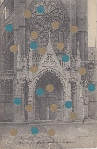 mixed media collage on vintage postcard 1