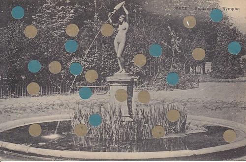 mixed media collage on vintage postcard 2
