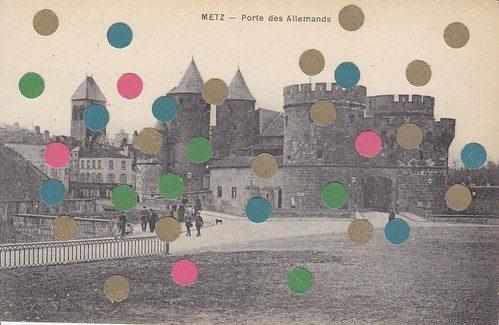 mixed media collage on vintage postcard 4