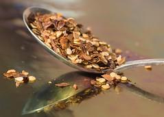 Flaking It (Helen Orozco) Tags: macromondays aspoonful hmm spoon chileflakes demitasse teaspoon