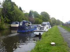 Two barges and a bike - east of Bull Bridge   (Mirfield canal)  May 2019 (dave_attrill) Tags: barges passing bike towpath bullbridge mirfield canal waterway calder caldernavigation westyorkshire huddersfield yorkshire kirklees westriding may 2019