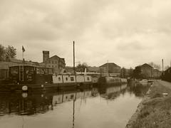 Mirfield Marina   (Mirfield canal)  May 2019 (dave_attrill) Tags: marina barges barge moored mirfield canal waterway calder caldernavigation westyorkshire huddersfield yorkshire kirklees westriding may 2019 sepia