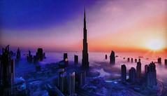 DUBAI - The fog floats on the city (Jacques Rollet (Little Available)) Tags: dubai sunset ville building fog brume city town groupenuagesetciel