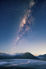 Eta Aquarids and Milky Way over Bromo (15-85) Tags: mount bromo aquarids aquarid meteor shower comet milky way galaxy galactic interstellar stars night astronomy indonesia java surabaya