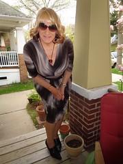 On The Porch With Laurette (Laurette Victoria) Tags: porch woman laurette dress necklace blonde sunglasses