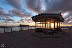 Rise of the relics (alundisleyimages@gmail.com) Tags: victorian relic artifacts shelters marinelake sunrise weather newbrighton promenade lighthouse fortperchrock benches rest relax clouds cranes england uk history