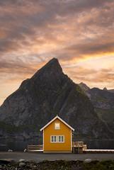 Symmetry (martin.matte) Tags: mountains cabin yellow sky natürlich nature landscape norwegen norway island water midnight midnightsun sunset sunrise