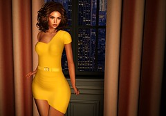 Behind The Window (kare Karas) Tags: woman lady femme girl girly sweet cute beauty prettysensual sexy seduce virtual avatar secondlife fashion dress hair mesh spring may events colors pulse vanityevent firelight swankevent