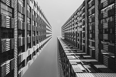 Looking up (alowlandr) Tags: amsterdam northholland netherlands architecture modern buildingexterior building sky city nopeople monochrome office clearsky outdoors symmetry lookingup zuidas