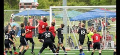 Pre-impact Header (WVTROUT) Tags: ef100400mm lseries canon athletic lose win grind jumping running boys kids competition google tournament travel athlete jump run córnerkick header head grass score net goalie goal ball soccer sports red res