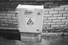 Box of Doom (bigalid) Tags: film 35mm vivitar mega 200 ilford xp2 c41 bw april 2019 scotland dumfries danger sign