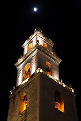 Bell Tower Moon (peterkelly) Tags: yucatán mexico digital canon 6d northamerica gadventures mayandiscovery mérida cathedralofsanildefonso church moon night evening tower bell bells