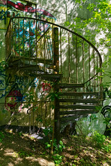 Back Stairs Teufelsberg (Sarah Marston) Tags: berlin steps teufelsberg listeningstation graffiti abandoned abandonedbuildings germany shadows sony ilce6300 april 2019