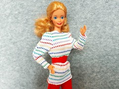 Barbie Bright & Breezy / Mix & Match Harmonie #4525 from 1987 (VintageZealot) Tags: barbie mattel bright breezy mix match harmonie dotw canadian dolls of the world 1987 80s 1980s 4525 4928 vintage retro fashion doll clothing clothes outfit superstar super star plastic snaps elastic china model modelling caucasian blonde jewelry ring diamond rhinestone crystal blouse shirt top tunic belt snakeskin dots knit pants trousers mules open toe heels sandals white red yellow green blue purple teal scrunched