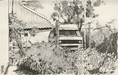 Yellow bus (Bohdan Tymo) Tags: drawing ink pencil spring vw transporter t3