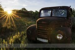 Vintage red car (borjamuro) Tags: vintage antiguo red rojo car coche dawn sunrise amanecer sol sun landscape tarragona spain españa espana nikon tokina d7100 nature naturaleza paisaje sky cielo