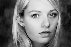 Margaux3 B&W (Nihat Alacahan) Tags: blonde girl woman portrait studio bw nb face look beautiful eyes visage regard expression pentax