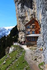 Berggasthaus Äscher / Mountain hut Aescher / Хижа Ешер (mitko_denev) Tags: швейцария апенцел алпи планна алпщайн switzerland schweiz svizzera svizra appenzell alps alpen appenzelleralpen alpstein mountain bergen berg gebirge hut berggasthaus äscher хижа ешер