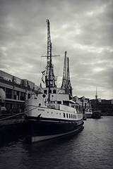 Canon EOS 60D - Monochrome - Bristol Waterfront - The Balmoral (Gareth Wonfor (TempusVolat)) Tags: picmonkey gareth tempus volat tempusvolat mrmorodo canon eos 60d canoneos eos60d canoneos60d dslr digital balmoral bristol ship steamship avon mast masts funnel garethwonfor mr morodo wonfor boat crane docks anchor harbour clouds mono monochrome black white
