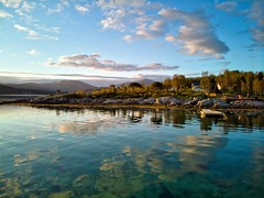Sunset in Arctic Norway (Maciej - landscape.lu) Tags: arctic circle norway norsk senja island landscape sea seascape boat reflections drone dronography