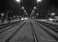 2755  Vias nocturnas (Ricard Gabarrús) Tags: calle rue street carrer nocturna ciudad noche vias paseo luces ricardgabarrus blancoynegro ricgaba olympus