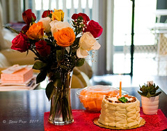 ~ My Birthday ~ (iTail ~ 5.2 Million Views ~ Thanks to all.) Tags: itail stevepage stephenpage birthday birthdaycake fujinon fujixt3 roses cake xf35mm f20