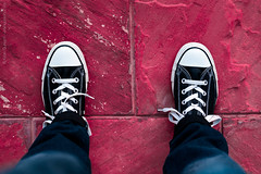 I walk alone! (Kiran Qureshi) Tags: street walking sneakers shoes bricks ground photography photo
