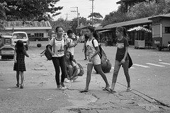Students (Beegee49) Tags: street people girls students filipina schoolgirls monochrome blackandwhite bw sony a6000 silay city philippines asia