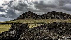 Reclining Moai and Rano Raraku volcano, Easter Island (David D Moore) Tags: easterisland rapanui isladepascua moai ahutongariki ranoraraku anakena ahuakivi theseven birdmancult birdman birdmen orongo ahutahai koteriku tahai vaiure ranokau polynesia chile