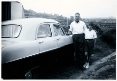 Boy With His Father (pepandtim) Tags: postcard old early nostalgia nostalgic boy father 1954 ford zephyr six 58bwh73