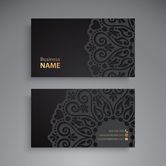 Business Card. Vintage decorative elements. Ornamental floral business cards or invitation with mandala (Shakhawat777) Tags: card business indian pattern mandala name turkish islam luxury black round template invitation vintage wedding abstraction arabic banner bohemian circle cover decoration element ethnic floral flower frame glitter henna identity