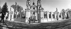 Wlodawa, Cathedral (ewitsoe) Tags: analog analogue bnw blackandwhite city ewitsoe horizont monochrome rolleirpx100 spring street wraszawa erikwitsoe erikwitsoecom film poland urban warsaw wide cinematic cinema grain panoramic pano widescreen sovietcamera oldcamera