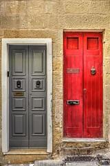 Which door to knock on? (Siuloon) Tags: doors door malta mdina architektura architecture architettura drzwi malte texture street stone building wall canon