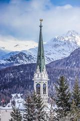 St. Moritz Reformierte Kirche (Iosif Trif) Tags: stmoritz church tower winter snow switzerland swiss schweiz suisse svizzera blue alps graubunden