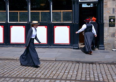 Edwardian lady in a hurry (Snapshooter46) Tags: edwardian costume woman hurry beamish museum highstreet people strawhat boater