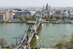 DSC7005 Puente de las Cadenas sobre el río Danubio y la Basílica de San Esteban, Budapest, Hungría (Ramón Muñoz - Fotografía) Tags: hungría budapest buda pest puente de las cadenas río danubio