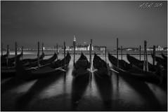 "Clichéd Venice 1 (""A.S.A."") Tags: venezia venice italy italia europe gondola slow shutter shadow sangiorgiomaggiore wideangle seascape sonya7rmkii zeissloxia2128 blackwhite mono monochrome greyscale niksoftware silverefex asa2019"