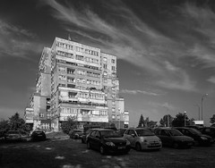 Mikołów, Poland. (wojszyca) Tags: intrepid camera 4x5 largeformat fujinon sw 90mm orange filter bergger pancro 400 hc110 epson v800 towerblock socialistmodernism architecture housing