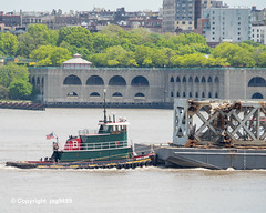"Tugboat ""Joyce D. Brown"" with Old Tappan Zee Bridge Superstructure Remains floating down the Hudson River, New York City (jag9889) Tags: bridge 1955 boat barge 2019 nyc newyorkcity usa ny newyork water metal river puente crossing unitedstates outdoor harlem manhattan unitedstatesofamerica bridges structure ponte transportation infrastructure pont tugboat hudsonriver tug brücke scrap span waterway dismantling punt tappanzee hamiltonheights bruecke workboat tappanzeebridge newyorkthruway governormalcolmwilsontappanzeebridge k004 northriverwastewatertreatmentplant jag9889 20190516"